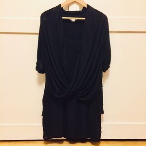 Helmut Lang Double Layer Drape Front Tunic